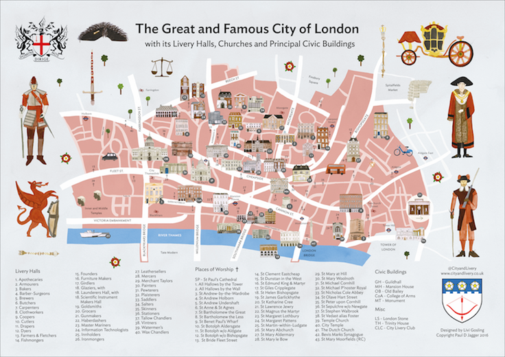 City and Livery Map of Livery Halls, Places of Worship and other principle Civic Buildings in the Square Mile