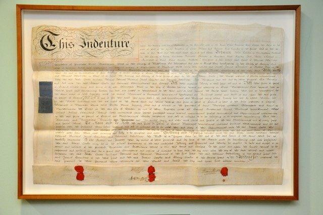 A deed indenture for a City of London Apprentice, framed and on display in The Information Technologists' Company Hall.