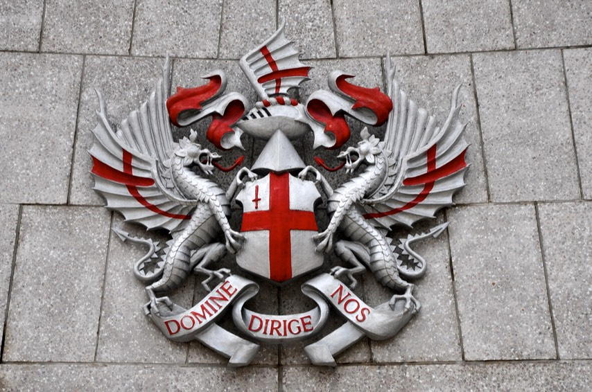 The Coat of Arms of the City of London photographed in Guildhall Yard.