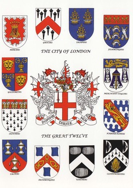 A postcard featuring the Coat of Arms of the City of London surrounded by the Arms of each of the Great Twelve Livery Companies