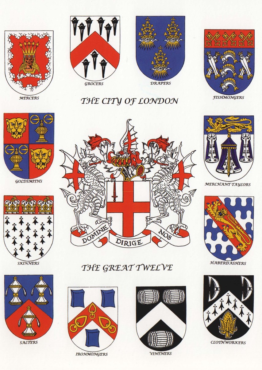 A poster of the Arms of the City of London surrounded by the Arms of the Great Twelve City of London Livery Companies