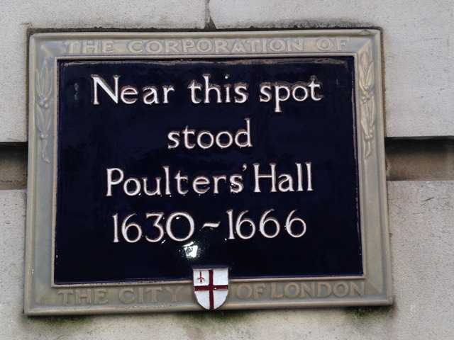 A sign in the City of London indicating the location of the former hall of the Poulterers' Company (1630-1666) destroyed during The Great Fire of London.