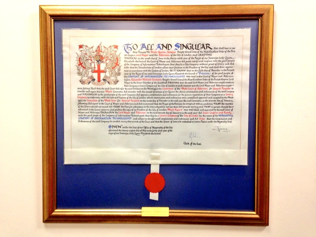 A framed Letters Patent granted by the Court of Aldermen and forming the Worshipful Company of Information Technologists as a City of London Livery Company in 1992