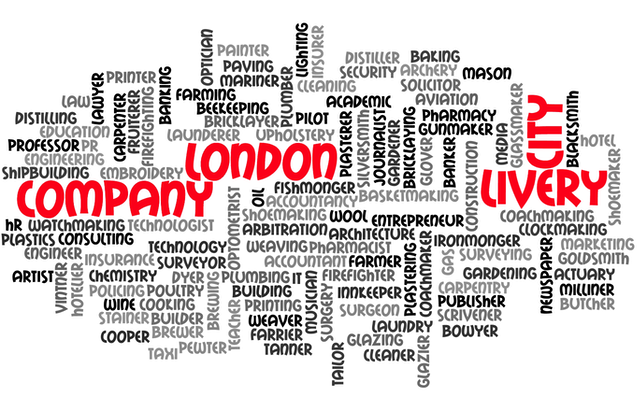 A word cloud listing the trades, crafts and professions represented by the Livery Companies.