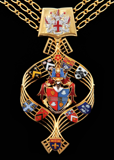 The Shrieval Badge and Chain of Alderman Dr Andrew Parmley. The badge features the Coats of Arms of various institutions with which Alderman Parmley is associated and has his own Coat of Arms in the centre.